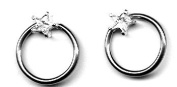 Body Accentz Nipple Ring Star Captive Bead Body Jewellery Pair 14 gauge - Sold as a pair