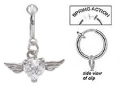 Fake Belly Navel Non Clip on Piercing Cz Heart Gem with Wings Dangle Ring