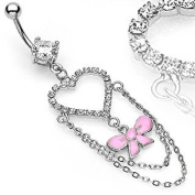 Pave Heart and Pink Ribbon Dangle Clear Cubic Zirconia Belly Ring - 14G - 1cm Bar Length - Sold Individually