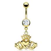 Gold Plated Over 316L Surgical Steel Belly Ring with Multi CZ Claddagh Dangle - 14G - 1cm Length - Sold Individually