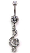 Clear Treble Clef Music Musical Note Dangle Belly Button Navel Ring Silver Tone Body Jewellery