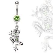 Jumping Silver & Green Frog Belly Navel Ring Paved Gems Dangle Button Piercing Jewellery