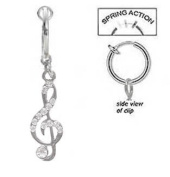 Fake Belly Navel Non Clip on Piercing Clear Cz Music Note Treble clef dangle Ring