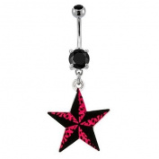 """316L Implant Grade Surgical Steel Prong Set Belly Ring with Black and Pink Leopard Print Nautical Star - 14g (1.6mm), 3/8"""" (10mm) Length - Sold Individually"""