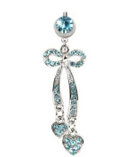 Elegant Aqua Blue Bow Tie & Hearts CZ Belly Navel Ring Gem Paved Dangle Button Piercing Jewellery