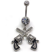 Western Cowgirl Dual Revolver Pistol Gun Dangle Belly Button Navel Rings High Polish Silver Tone Body Fashion Jewellery 14 Gauge