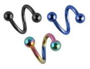 3 pc lot Rainbow, Black, Blue Anodized titanium Twist Spiral Ring lip tragus eyebrow ear belly nipple - 16 gauge, 16g