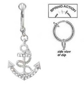Fake Belly Navel Non Clip on Clear cz Paved Gem Anchor Nautical Sailor dangle Ring