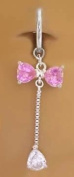Fake Belly Navel Non Clip on Piercing Cz & Pink Bow Long Dangle Ring