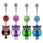 "316L Implant Grade Surgical Steel Pink Prong Set Navel/Belly Ring with Pink Dangling Owl - 14g (1.6mm), 3/8"" (10mm) Length - Sold Individually"