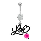 """316L Implant Grade Surgical Steel Clear Prong Set Belly Ring with Black PVD Coated Love with Dangling Pink Flower - 14g (1.6mm), 3/8"""" (10mm) Length - Sold Individually"""