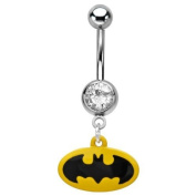 DC Comics Batman 316L Surgical Steel Dangle Belly Ring with Gem 14g