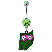 """316L Implant Grade Surgical Steel Peridot Prong Set Navel/Belly Ring with Dangling Zombie Style Owl - 14g (1.6mm), 3/8"""" (10mm) Length - Sold Individually"""