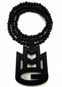 Large Wooden Rick Ross MMG Black Good Quality Wood Pendant & Chain