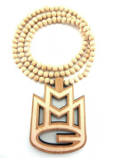 Large Wooden Rick Ross MMG Natural Good Quality Wood Pendant & Chain