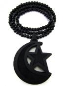 Large Wooden Islam Emblem Black Good Quality Wood Pendant & Chain