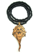 Large Wooden Zion Lion Head Pendant Bead Chain Necklace ALL GOOD WOOD STYLE! two-toned