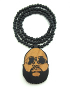 Large Wooden Rick Ross Face Pendant Bead Chain Necklace ALL GOOD WOOD STYLE! two-toned