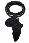 Large Wooden Africa Map Black Good Quality Wood Pendant & Chain