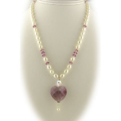 Faceted Lavender Heart Pendant Freshwater Pearl Necklace