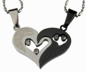 Lovers /Couple Black /Silver Tone Heart Pendant Set, Stainless Steel