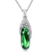 Green Crystal Lovely Glass Slipper Pendant Necklace Fashion Jewellery