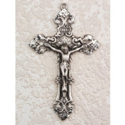 Antique Design, Deluxe Satin Silver Finished Pewter Pendant, Crucifix Cross Medal 61cm Chain