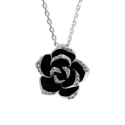 18K White Gold Plated Black Enamel. Elements Crystal Flower Pendant Necklace