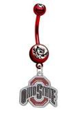 Ohio State Buckeyes PREMIUM Red Titanium Anodized Sexy Belly Navel Ring