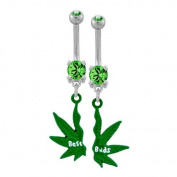 """316L Implant Grade Surgical Steel Peridot Prong Set Belly Ring with Mini Best Buds Pot Leaf Broken in Two - 14g (1.6mm), 3/8"""" (10mm) Length, 4x6mm Gem/Dangle Size - Sold as a Pair"""