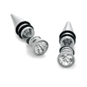 Fake Tapers Earrings 2 Pieces Stainless Steel 16 Gauge Studs with CZ - 2G Gauges Look