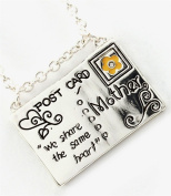 Mother Necklace Post Card We Share The Same Heart BZ Clear Crystal Mom