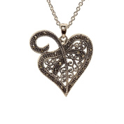 Openwork Heart Pendant with Genuine Marcasite
