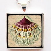 Seaside Resort Jellyfish Glass Tile Pendant Necklace