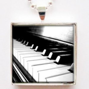 Piano Keys Glass Tile Pendant Necklace with Silver Chain