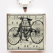 Vintage Antique Tricycle Glass Tile Pendant Necklace with Silver Chain