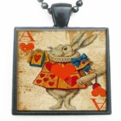 Alice in Wonderland Through the Looking Glass White Rabbit Glass Tile Pendant Necklace with Black Chain