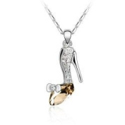 Sparkling Glass Slipper Charm Pendant Necklace Fashion Jewellery
