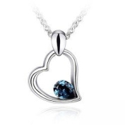 Lovely Deep Blue Crystal Heart Charm Pendant Necklace Fashion Jewellery