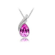 Pink Tear Drop Crystal Pendant Necklace Fashion Jewellery