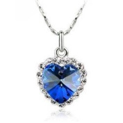 Sparkling Deep Blue Crystal Heart Charm Pendant Necklace Fashion Jewellery - Heart of Ocean