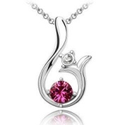 Shining Lily Purple Crystal Pendant Necklace Fashion Jewellery