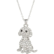 Heirloom Finds Clear Crystal Sitting Puppy Dog Pendant Necklace with Black Crystal Eyes
