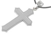 Matte Finish Jesus Christ Cross Pendant - Christian Crucifix w/ 45.7cm PVC necklace.