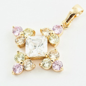 18K Gold Plated Cubic Zirconia Floral Pendant