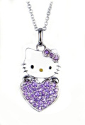 Super Cute Kitty Holding Heart Charm Necklace with Light Purple Austrian Crystals