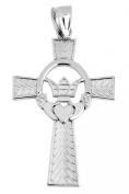 925 Sterling Silver Claddagh Irish Cross Pendant