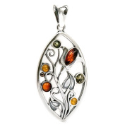 Sterling Silver Multicoloured Baltic Amber Fantasy Elven Tree Pendant