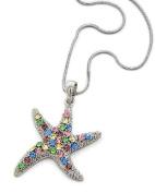 Rhodiumized Multi-Colour Rhinestone Star Fish Pendant Necklace