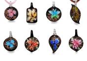 Bundle Monster Colourful Assorted Glass Murano Floral Pendant Necklace 8pc Set, 45.7cm Cord